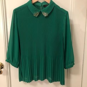 Ted Baker green pleated blouse.